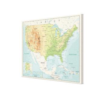 Toile Rétro carte couleur du monde
