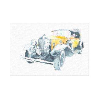 Toile Rétro voiture vintage jaune