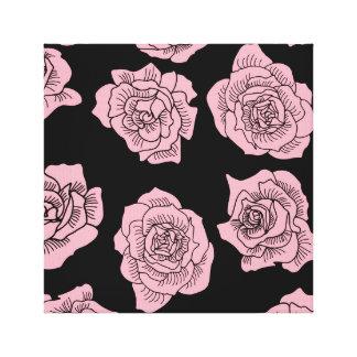 Toile Roses roses sur l'arrière - plan noir