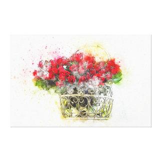 Toile Roses rouges chics minables dans la couleur pour