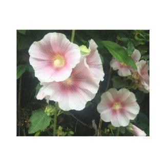 Toile Roses trémière rougeoyantes
