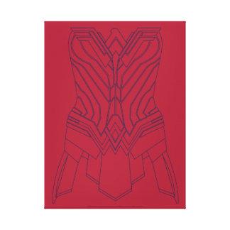 Toile Rouge de femme de merveille et contour d'armure de