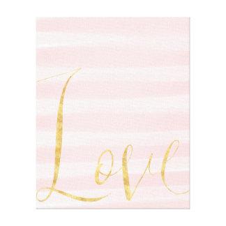 Toile Rougissent l'amour rose d'or de rayures