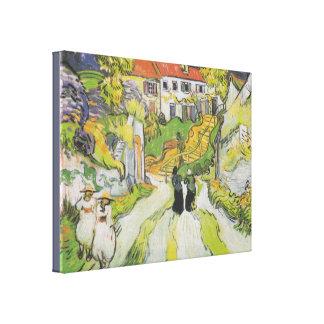 Toile Rue et escaliers de village dans Auvers avec des