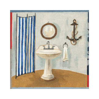 Toile Salle de bains orientée nautique