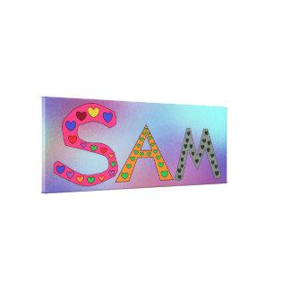Toile SAM du nom de la fille conception pourpre et bleu