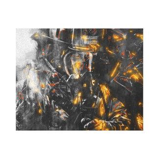 Toile Sapeur-pompier - courage pour lutter la bête