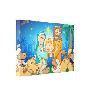 Toile Scène douce de la nativité du bébé Jésus