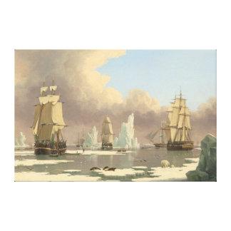 Toile Scène mâtée d'océan de bateaux du Pôle Nord trois