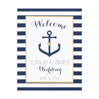 Toile Signe bienvenu de mariage orienté nautique de