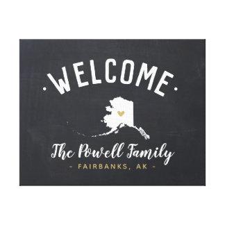 Toile Signe bienvenu de monogramme de famille de