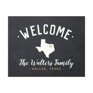Toile Signe bienvenu de monogramme de famille du Texas