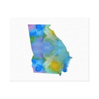 Toile Silhouette colorée de la Géorgie