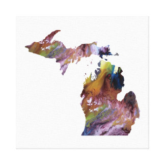 Toile silhouette colorée du Michigan