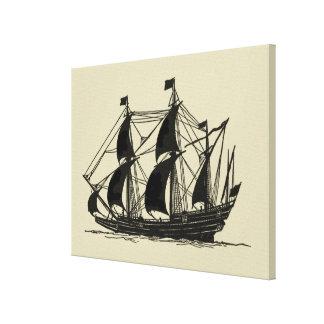 Toile Silhouette de bateau avec les voiles se