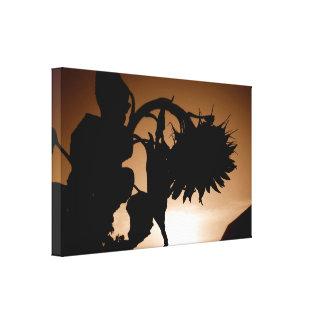 Toile Silhouette de lever de soleil de tournesol géant