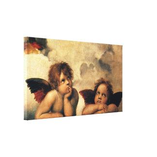 Toile Sistine Madonna, détail d'anges par Raphael