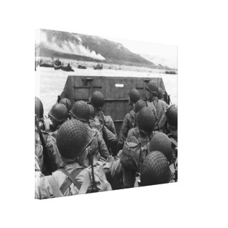 Toile Soldats de le jour J dans un bateau de Higgins