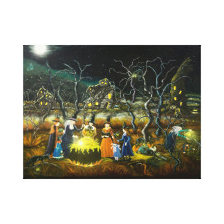 Toile Sorcières de Halloween autour d'un chaudron
