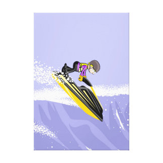 Toile Sportif audacieux en surfeando une vague avec son