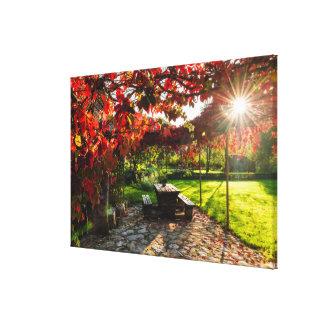 Toile Sun par le feuille d'automne, Croatie