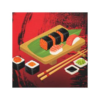 Toile Sushi noirs et rouges élégants modernes chics