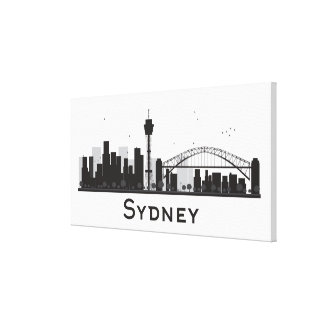 Toile Sydney, Australie horizon noir et blanc de | de