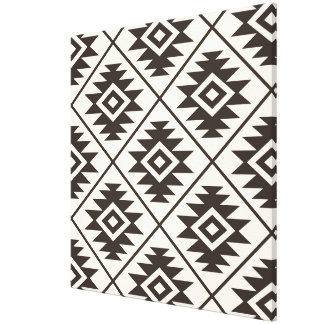 Toile Symbole aztèque grand Ptn stylisé Brown sur la