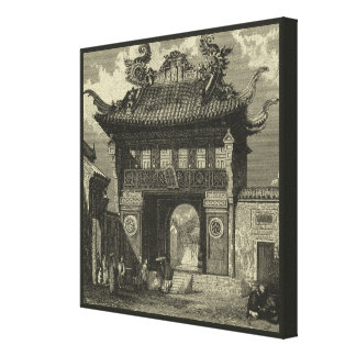 Toile Temple impérial asiatique dans noir et le blanc