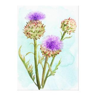 Toile Tête de fleur d'artichaut d'aquarelle
