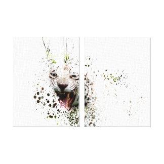 Toile Tigre blanc hurlant le chat impressionniste