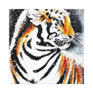 Toile Tigre dans la neige noir