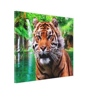Toile Tigre et cascade
