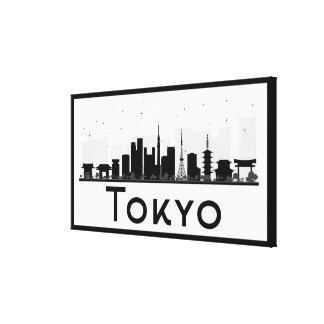 Toile Tokyo, Japon horizon noir et blanc de | de ville
