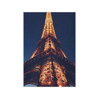 Toile Tour Eiffel à la copie de photo de nuit