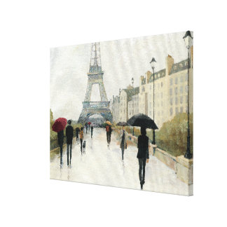 Toile Tour Eiffel   Paris sous la pluie