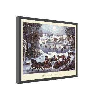 Toile Traîneaux vintages de Noël, Central Park en hiver