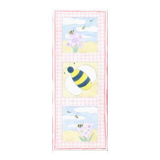 Toile Trio des abeilles avec des fleurs