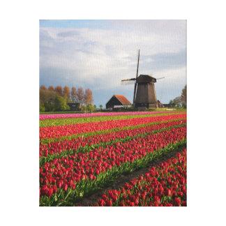 Toile Tulipes rouges et un moulin à vent