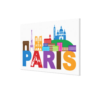 Toile Typographie colorée de Paris, France |