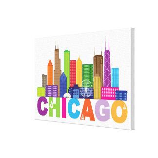 Toile Typographie d'horizon de ville de Chicago