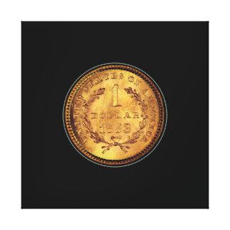 Toile Un arrière - plan noir de pièce de monnaie d'or du