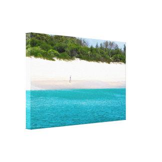 Toile Un homme seul marchant sur la belle plage de blanc