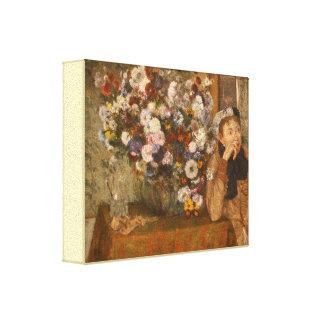Toile Une femme assise près d'un vase de fleurs dégazent