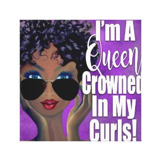Toile Une Reine couronnée dans l'affirmation de boucles