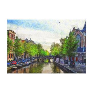 Toile Une vue du canal près d'Oudekerk.