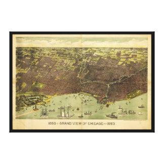 Toile Une vue grande de Chicago, l'Illinois (1893)