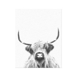 Toile Vache des montagnes noire et blanche