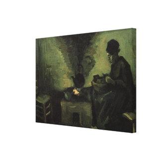 Toile Van Gogh ; Femme rurale par la cheminée, art
