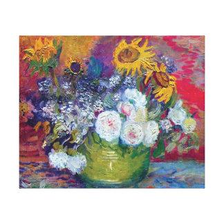 Toile Van Gogh - la vie toujours avec des roses et des